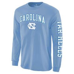 Men's Light Blue North Carolina Tar Heels Distressed Arch Over Logo Long Sleeve Hit T-Shirt