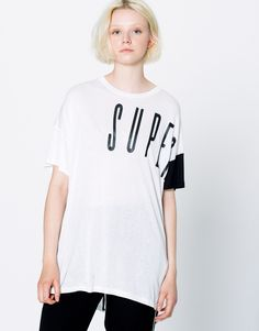 LONG T-SHIRT WITH TEXT - T-SHIRTS - WOMAN - PULL&BEAR United Kingdom