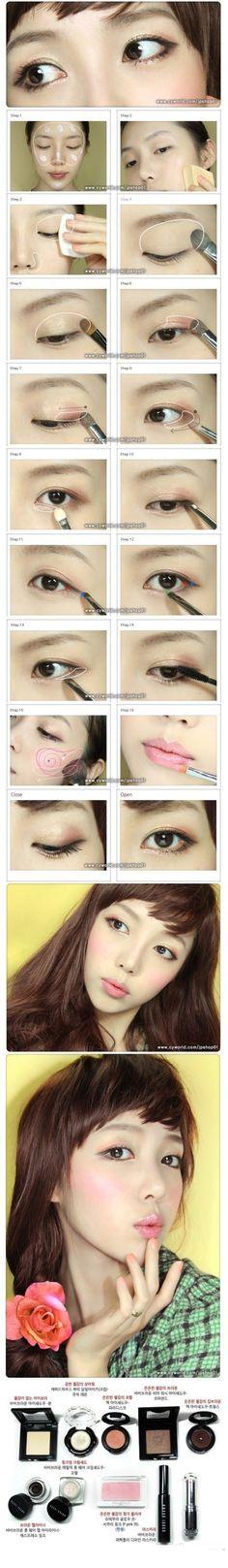 Make up for asian Korean Makeup Tutorials, Beauty Tutorials, Beauty Hacks, Korean Eye Makeup, Asian Makeup, Makeup Tips, Beauty Makeup, Hair Makeup, Doll Makeup