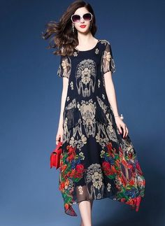 Chiffon Floral Short Sleeve Mid-Calf Casual Dresses (1051725) @ floryday.com