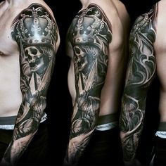 Skeleton With King Crown Unique Guys Full Sleeve 3d Tattoo Ideas