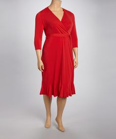Take a look at the Red Surplice Dress - Plus on #zulily today!