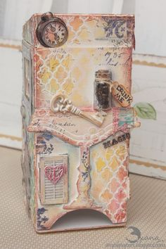 scrappylicious : mixed media ArtistTradingBlocks (tea box) with the Alice in Wonderland