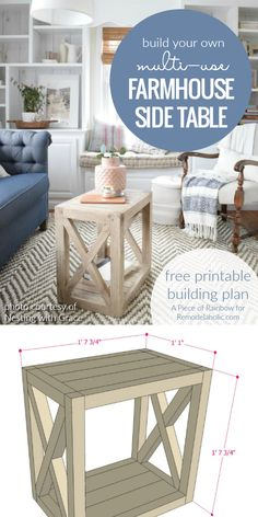 DIY Farmhouse Side Table Building Plan | Build this versatile multi-use farmhouse end table to use as a side table in the living room or as a bedside table. Living room photo courtesy of Nesting with Grace, free building plan at Remodelaholic.com.