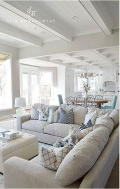 33 Ideas Apartment Living Room Themes Cozy Pillows For 2019 Living Room Themes, Coastal Living Rooms, Living Room White, New Living Room, Small Living, Living Room Sectional, Living Room Flooring, Living Room Furniture, Grey Sectional