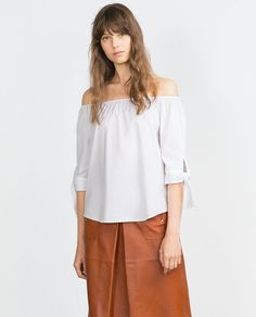OFF-THE-SHOULDER POPLIN SHIRT-Tops-Woman-COLLECTION AW15 | ZARA United States