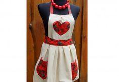Fartuszek kuchenny FOLK-czerwony. Ecru- red folk apron.