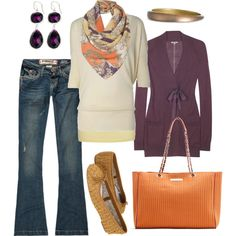 orange & purple, created by #htotheb on #polyvore. #fashion #style #Jigsaw #Hydraulic