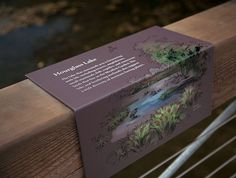 Built into a handrail Park Signage, Wayfinding Signage, Signage Design, Environmental Graphic Design, Environmental Graphics, Eco Sign, Outdoor Signage, Sensory Garden, Plant Labels