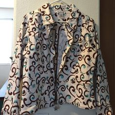Jacket Blue brown and beige jacket with star fish zipper. Jackets & Coats Jean Jackets
