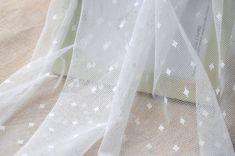 1 Yard Lace Fabric,Embroidery,Wedding,Bridal,White Color, diamond pattern,Cotton stretch (W51)