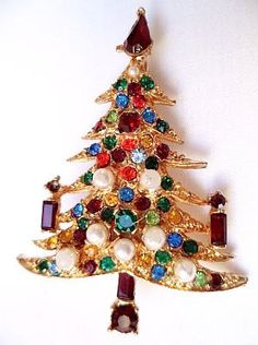 Christmas Tree Candle Brooch Pin Multi by BrightgemsTreasures