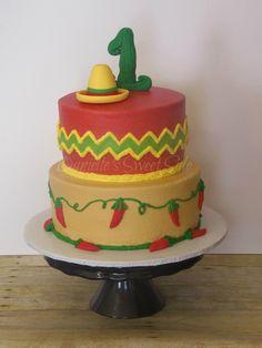 Cinco De Mayo Mexican themed First Birthday Cake Sombrero Cactus Chili Peppers Chevron