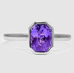 White Gold Sapphire Luna Ring set with a Premium Radiant Purple Sapphire ==