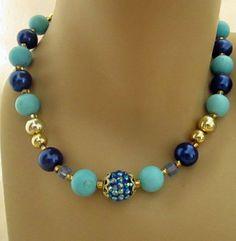 "Vintage Style Beaded Necklace Gold Blue Turquoise 17"" Spring Break Summer Easter #Handmade #Pendant"