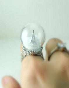 snowglobe ring.