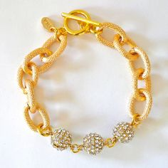 PREORDER--Gold Chain Link & Pave Ball Bracelet. $35.00, via Etsy.