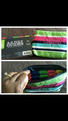 Thirty One -- mini zipper pouch Easy, convenient way to organize and carry your coupons while you grocery shop. Just add dividers. Mythirtyone.com/ashleyhancock