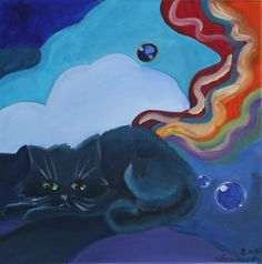 Cat is dreaming ( 40,5 x 40,5 , Akryl )
