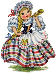 Cute Retro Swiss Doll Image!   This pretty Girl is wearing a striped Full Skirt and a white Lace trimmed Blouse, Apron and Cap. She has a long blonde braid and is blowing into a horn This is the eighth one in a series that I've been sharing here for the last few weeks, of lovely Dolls from all over the World.