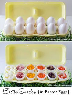handig om dingen in mee te nemen, ev in microgolf eieren-kokers Easter Snacks {in Easter Eggs}! Such a cute idea to make for a fun Easter lunch or snack. Easter Snacks, Easter Appetizers, Easter Lunch, Easter Dinner, Easter Treats, Easter Party, Easter Recipes, Easter Eggs, Easter Food