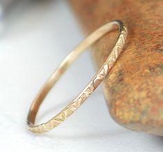 14k Gold Bohemian Ring Rustic Wedding Ring Thin by Alaridesign