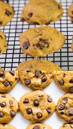 Pumpkin Chocolate Chip Cookies, Chocolate Cookie Recipes, Easy Cookie Recipes, Pumpkin Recipes, Fall Recipes, Easy Pumpkin Cookies, Pumpkin Cookie Recipe, Vegan Pumpkin, Pumpkin Pumpkin