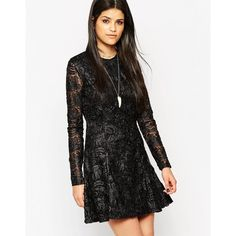 Rock & Religion Long Sleeve Lace Skater Dress With High Neck (1425335 BYR) ❤ liked on Polyvore