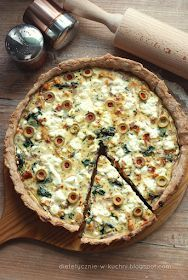 Wholegrain Chicken and Feta Tart. Super tasty and healthy chicken tart with spinach and feta cheese. (in Polish) Milk Recipes, Tart Recipes, Healthy Recipes, Tomato Tarte Tatin, Quiche, Food Map, Berry Tart, Savory Tart, Spinach And Feta