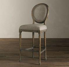 Vintage French Round Barstool