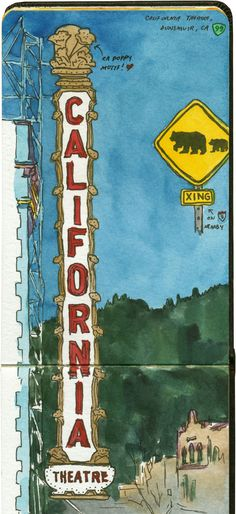 California Theatre sign sketch by Chandler O'Leary