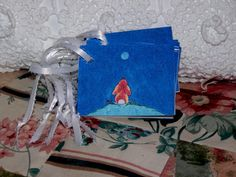 Bunny Luvs the Moon Gift Tags  Mini Cards by by mariesimagination, $10.00