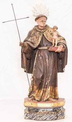 Imagem de madeira policromada, Santo Antonio com O Menino. Bahia, século XIX. Alt. 35cm. Não vendido. Base 2.000,00
