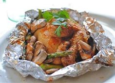 Grilled chicken in foil