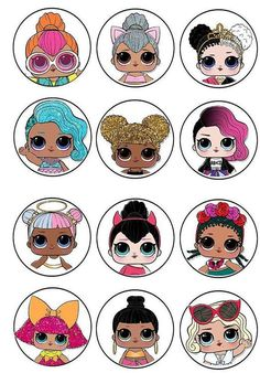 Doll Cupcakes Edible Cupcake Toppers ideas for birthdayLOL Surprise! Doll Cupcakes Edible Cupcake Toppers ideas for birthday LOL Dolls Cake Topper Tween Party Games, Princess Party Games, Sleepover Party, Lol Doll Cake, Birthday Places, Backyard Party Games, Edible Cupcake Toppers, Edible Cake, 6th Birthday Parties