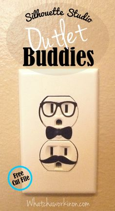 Hee hee... Adhesive vinyl electrical outlet faces from whatchaworkinon.com ~ 3 pairs of glasses, 4 mustaches & a bow tie to mix and match.