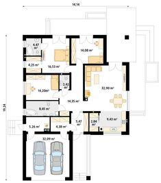 DOM.PL™ - Projekt domu MT Ariel 4 CE - DOM MS3-11 - gotowy koszt budowy Modern Bungalow House, Design Case, Small House Plans, Sweet Home, Floor Plans, Ariel, House Design, How To Plan, Moonlight