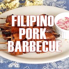 Filipino Pork Barbecue - Filipino Pork Barbecue made of pork slices marinated in a BBQ sauce and skewered in bamboo sticks. Sweet, salty, and slightly spicy, these Filipino-style kebabs are seriously addicting! Filipino Pork Bbq, Filipino Dishes, Filipino Bbq Pork Skewers Recipe, Easy Filipino Recipes, Barbecue Recipes, Pork Recipes, Cooking Recipes, Cooking Food, Lunch Recipes