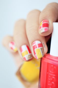 Coral mosaic summer colorful bright nails