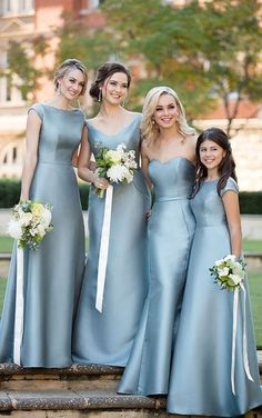e1b50d9da31 Sweetheart V Neck Or Round Neck Blue Satin Tea-length Bridesmaid Dress 52437
