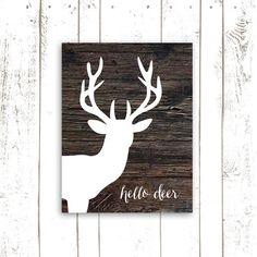 Art imprimable de cerf, bois, Art Print, Bonjour Deer typographie, Instant Télécharger tête de cerf sur bois