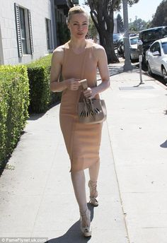 Bare-faced beauty: Melissa George steps out in Beverly Hills wearing a nude dress and co-ordinating beige accessories Melissa George, Nude Dress, Beverly Hills, Beige, Skirts, People, How To Wear, Inspiration, Accessories
