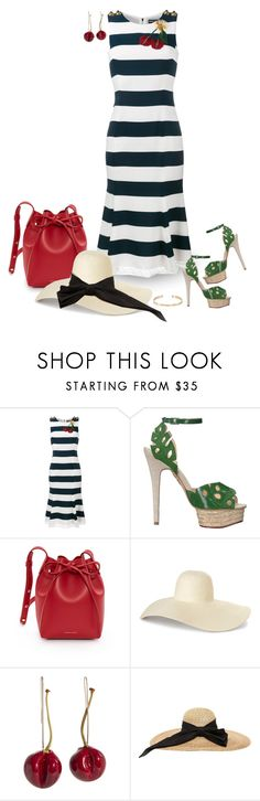 """""""Striped Dress"""" by sheryl-lee ❤ liked on Polyvore featuring Dolce&Gabbana, Charlotte Olympia, Mansur Gavriel, Kreisi Couture and Ileana Makri"""