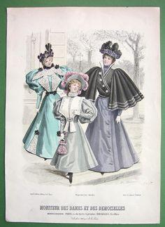 Walking dress for women and girls, ca 1895, Moniteur des Dames et des Demoiselles