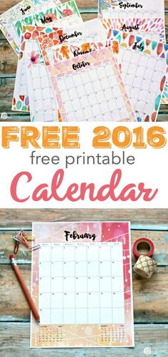 2016 Calendar Printable from Diy Calendar, Free Printable Calendar, 2016 Calendar, Printable Planner, Planner Stickers, Free Printables, Studyblr, Diy And Crafts, Paper Crafts
