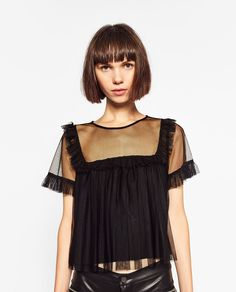 ZARA - WOMAN - FRILLED TULLE TOP Fashion Details, Diy Fashion, Fashion Brands, Ideias Fashion, Fashion Looks, Fashion Outfits, Womens Fashion, Fashion Design, Vetements Clothing