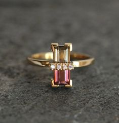 Watermelon Tourmaline Ring, Unique Diamond Ring in Yellow Gold, Baguette Cut Engagement Ring, Art Deco Ring by MinimalVS Baguette Engagement Ring, Engagement Ring Cuts, Unique Diamond Engagement Rings, Unique Rings, Ring Ring, Pierre Tourmaline, Estilo Art Deco, Watermelon Tourmaline, Pink Tourmaline Ring