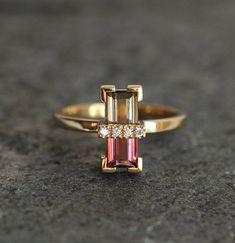 Tourmaline Ring Unique Diamond Engagement Ring Baguette | Etsy