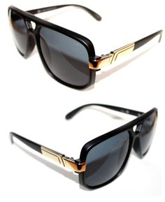 0406f68a73c0 Men s Vintage 627 Aviator Sunglasses Matte Black Gold Frame Grandmaster 564   Stars  FlatTop