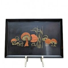 Vintage Couroc Mushrooms tray, one of many Couroc trays available at Thehourshop.com